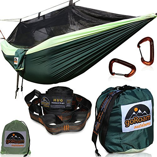 GoRoam Outdoors Camping Hammock with Mosquito Net | Pro Upgrade Hex RipStop Nylon - 10ft Loop Tree Straps & Wiregate Carabiners. Premium Quality & Lightweight - Bug Free Hiking, Backpacking & Travel