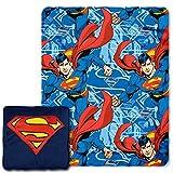 "DC Comics Superman, ""Metropolis Shield"" 14-Inch 3D Pillow and 40"" x 50"" Fleece Throw in Pocket Set, Multi Color"