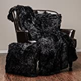 Chanasya 3-Piece Super Soft Shaggy Throw Blanket Pillow Cover Set - Chic Fuzzy Faux Fur Elegant Cozy Fleece Sherpa Throw (50'x65')& Two Throw Pillow Covers (18'x 18')- For Bed Couch Chair Sofa - Black
