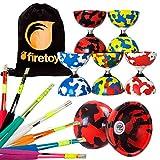 Juggle Dream Jester Bearing Diabolo + Superglass Fibreglass Diablo Sticks & String with Firetoys Bag! Huge Color Selection (Red/Black Diabolo, Black Sticks)