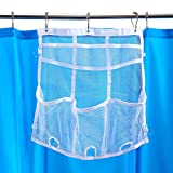 Smooth Trip Hanging Shower Organizer for Curtain Rods with Mesh Dispenser Pockets