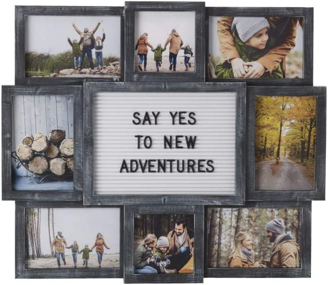 Melannco Customizable Letterboard 8-Opening Photo Collage, 19 x 17 inch,Distressed Black