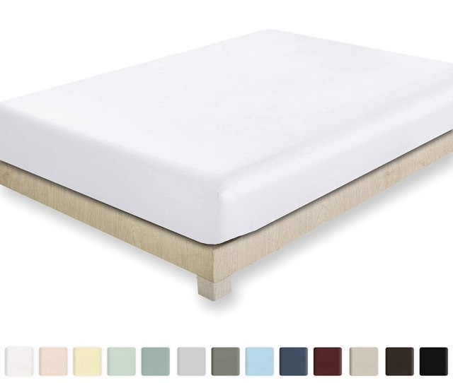 California Design Den 400 Thread Count  Fitted Sheet Only Pure White Queen Fitted Sheet Long Staple Combed Pure Natural Cotton Sheet