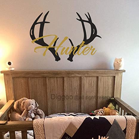 Antler Wall Decal Personalized Boys Name Wall Decal Boys Nursery Decor Hunting Deer Antlers Decal Kids Room Decor 21 5 H X 30 W Amazon Ca Baby