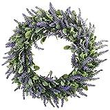 """GTidea 16"""" Artificial Lavender Wreaths Flowers Arrangements Front Door Wall Home DIY Floor Garden Office Wedding Decor in Purple"""