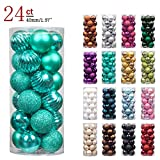 "KI Store 24ct Christmas Ball Ornaments Shatterproof Christmas Decorations Tree Balls Pastel SMALL for Holiday Wedding Party Decoration, Tree Ornaments Hooks included 1.57"" (40mm Teal)"