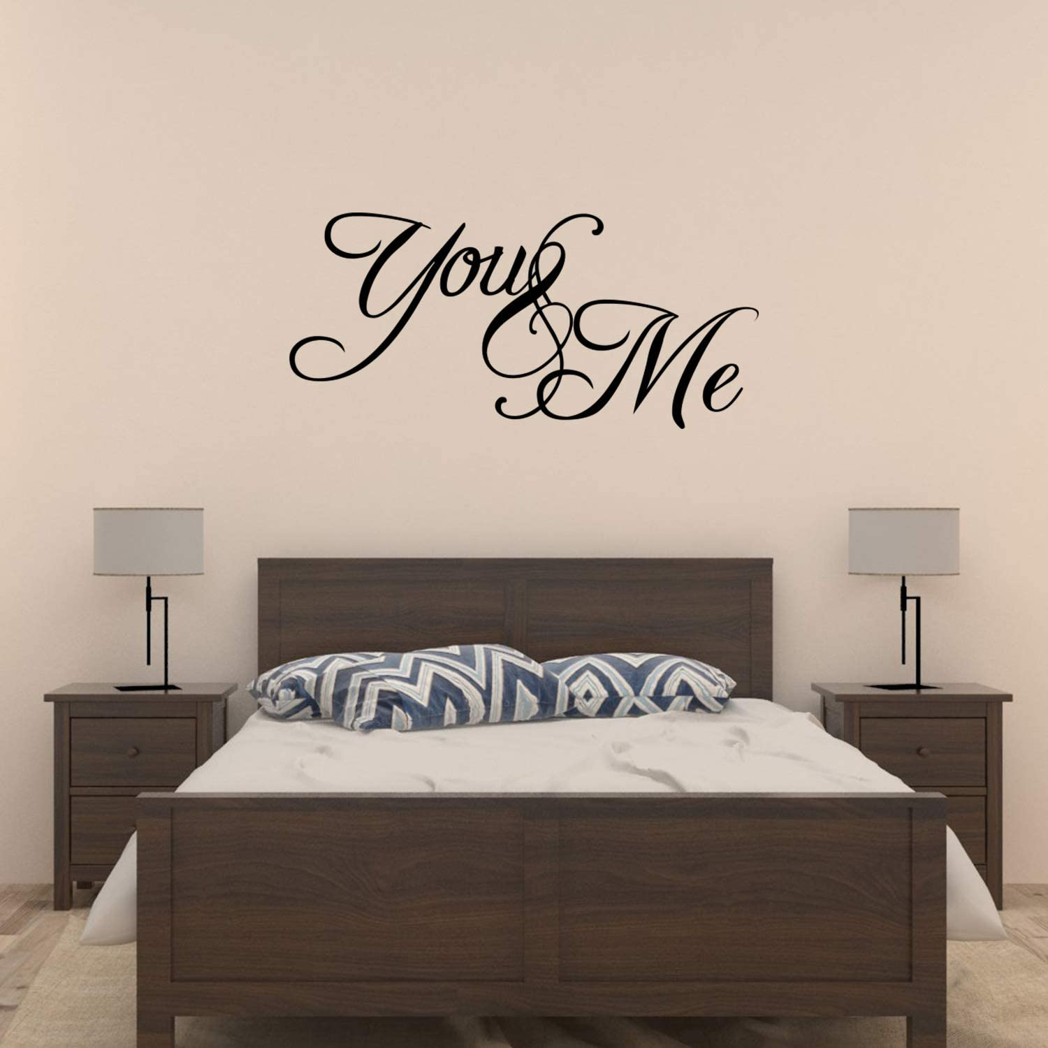Amazon Com You And Me Bedroom Vinyl Wall Decal Sticker Quote Art Love Saying Home Kitchen