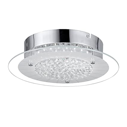 Audian Flush Mount Ceiling Light Ceiling Lamp Dimmable Led Modern Roundness Glass Shade K9 Crystal Bead