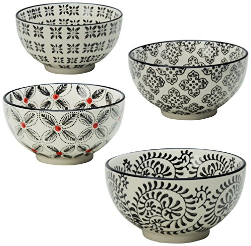 Signature Housewares Print 1 Bowls, 5-Inch, Black, Set of 4