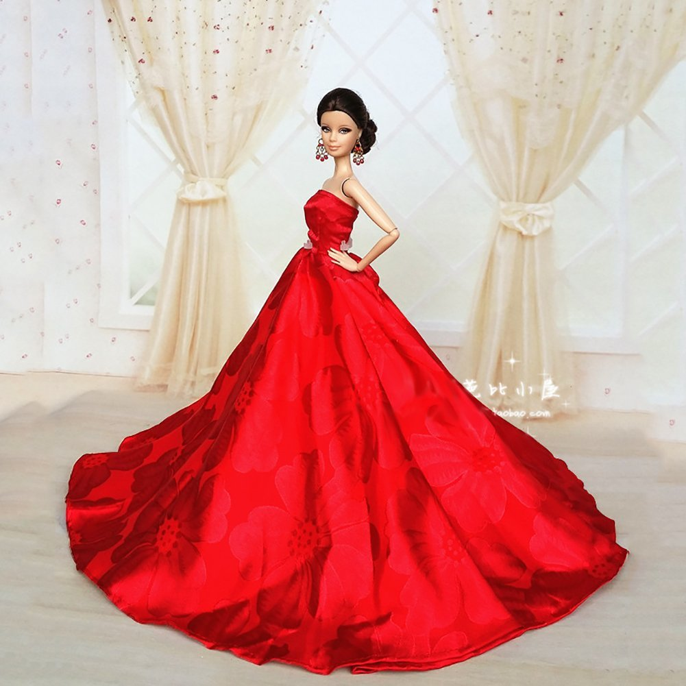 Princess Dress Gown Made Fit for Barbie Doll-Red