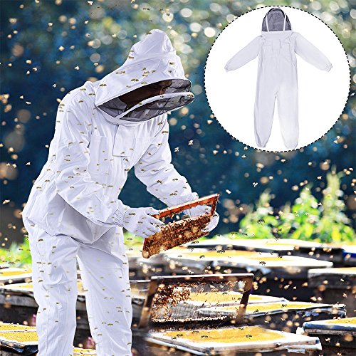 DGCUS Professional Cotton Full Body Beekeeping Suit with Fencing Veil