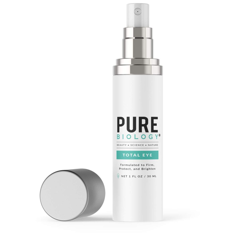 Pure Biology Premium Total Eye Cream Serum - Anti Aging Vitamin C, E & Hyaluronic Acid Reduce Dark Circles, Puffiness, Under Eye Bags, Wrinkles & Fine Lines for Men & Women, 1 oz