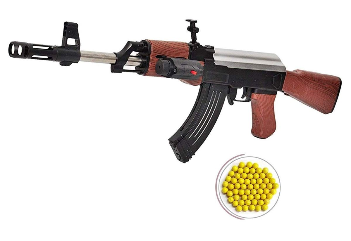 IndusBay® AK 47 BB Toy Gun for Boys , 23 Inches Long Army Style AK-47 with Laser Light & 100 Plastic Bullets , Shooting Game for Kids