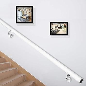 Happybuy Stair Handrail 10Ft Length Stair Rail Aluminum Modern   White Handrails For Stairs Interior   Grey Treads   Safety   Richard Burbidge   Ship Lap   Aluminum