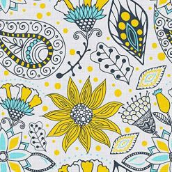 Pleated Yellow Paisley Curtains