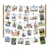 Love-KANKEI Wood Picture Photo Frame for Wall Decor 26×29 inch - with 30 Clips & Ajustable Twines - Collage Artworks Prints Multi Pictures Organizer & Hanging Display Frames Carbonized Black