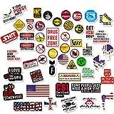 Hard Hat Stickers [Big 50 PCS] - Funny Sticker for Tool Box Helmet Welding Construction Union Military Ironworker Lineman Oilfield Electrician Pipeliner Ibew - Badass American Patriotic Vinyl Decals