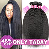 Mei You 8A Kinky Straight Hair 3 Bundles Yaki Human Hair Weave Unprocessed Brazilian Virgin Remy Sew in Hair Extensions Natural Black (14.16.18)