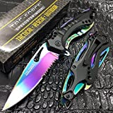 Tac Force Spring Assisted Rainbow Blade Tactical Rescue Pocket Hunting Knife