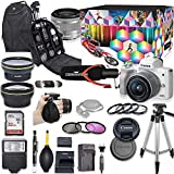 Canon EOS M50 Mirrorless Digital Camera with 15-45mm Lens Kit (White) + Wide Angle Lens + 2X Telephoto Lens + Flash + SanDisk 32GB SD Memory Card + Video Creator Accessory Bundle