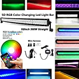 IOV LIGHT Bluetooth App Control 52 Inch 300w 5D RGB Led Light Bar Spot Flood Combo Beam16 Million Colors Changing Tons of Flashing Mode Music Code Timing Strobe Light Bar Free Wire Harness