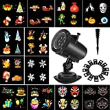 Christmas Projector Lights Sunsbell Led Landscape Spotlight, 20 Slides Sparkling Projector Light Show 360 Degrees Rotating Halloween Outdoor Indoor Lighting (8W -12 Slides)