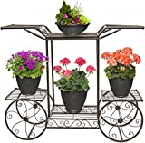 Sorbus Garden Cart Stand & Flower Pot Plant Holder Display Rack, 6 Tiers, Parisian Style - Perfect for Home, Garden, Patio (Bronze)
