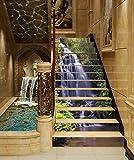 "3D Waterfall Tree Lake 730 Stair Risers Decoration Photo Mural Vinyl Decal Wallpaper Murals Wallpaper Mural US Lemon (13x H:18cm x W:102cm (7""x40""))"