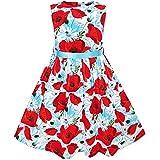 KJ64 Girls Dress Red Flower Belt Summer Beach Dress Size 7-8