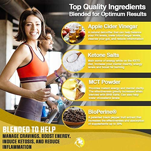 Apple Cider Vinegar Capsules with Mother + Keto Diet Pills, BHB Salts with MCT Oil, Includes 100 Ketone Test Strips, Exogenous Ketones for Instant Keto, Use Fat for Energy, Boost Metabolism Men, Women 4
