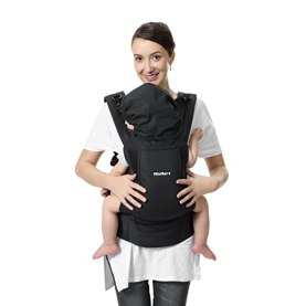 Soft Baby Carrier, MixMart 3-in-1 Ultra-light Ergonomic Child Carrier Backpack Front and Back Carry for Men Women with Detachable Hoop Zipper Pouch Ventilation MeshGift for Mom Newborn Baby (Black)