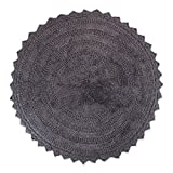 DII Ultra Soft Spa Cotton Crochet Round Bath Mat or Rug Place in Front of Shower, Vanity, Bath Tub, Sink, and Toilet, 28' - Gray