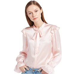 LILYSILK Women's 100% Silk Blouse Long Poet Sleeve Tie Collar Ladies Shirt 22 Momme Pure Charmeuse Silk Light Pink Size XL