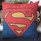 Mary's Home Superman Batman Green Lantern Captain America, Iron Man, the Flash Cotton & Linen Pillowcase Decorative Throw Pillow Cover (Superman)