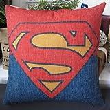 Mary's Home Superman Batman Green Lantern Captain America, Iron Man, the Flash Cotton & Linen Pillowcase Decorative Throw Pillow Cover (Superman)