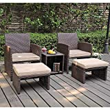 OC Orange-Casual 5 Pcs Patio Conversation Set Outdoor Furniture Set with Beige Cushions, Ottomans and Storage Table for Backyard, Garden, Porch (Brown)