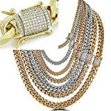 Harlembling Men's Miami Cuban Link Chain - Iced Out Diamond Clasp - Iced Out Men's Heavy Chain 18'-30' - 14k 18k Yellow Gold Over Stainless Steel - Never Changes Color (20, 14mm - 14k White Gold)