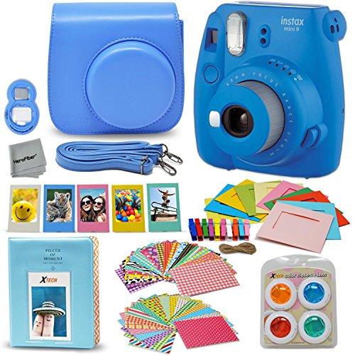 Fujifilm Instax Mini 9 Instant Camera + Accessory Kit, Includes: Custom Mini 9 Case with Strap + Assorted Frames + Photo Album + 4 Color Filters + Large Selfie Mirror + MORE