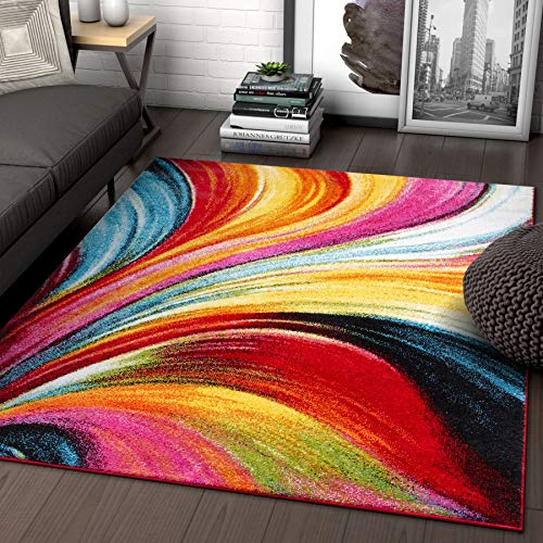 Aurora Multi Red Yellow Orange Swirl Lines Modern Geometric Abstract Brush Stroke Area Rug 5 x 7 ( 5'3' x 7'3' ) Easy Clean Stain Resistant Shed Free Contemporary Painting Art Stripe Thick Soft Plush