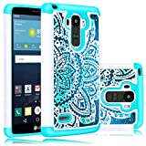 LG G Stylo Case, LG G Stylus Case, Heng Tech (TM) [Shock Absorption] Studded Rhinestone Bling Hybrid Dual Layer Armor Defender Protective Case Cover for LG G Stylo (White / Teal)