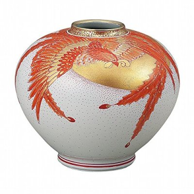 Jpanese traditional ceramic Kutani ware. Ikebana flower vase. Gold phoenix. With wooden box. ktn-K5-1336