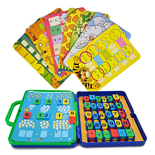 Preschool Maths Cards Learning Toys - Wishtime Colourful Maths Games for Toddler Kids Educational Number Counting Cards for Girls Boys Age 2+ Christmas Gifts (15 maths cards+72 numbers )