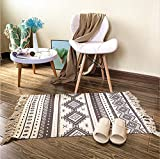 Ukeler Bohemia Rug- Machine Washable Printed Rugs with Tassel Hand Woven Cotton Rug Runner for Kitchen, Living Room, Bedroom, 23.6' x 51.2'
