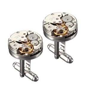 Yellow Chimes Steampunk Retro Vintage Watch Movement Shape Cufflinks for Men and Boys - Curiouskeeda