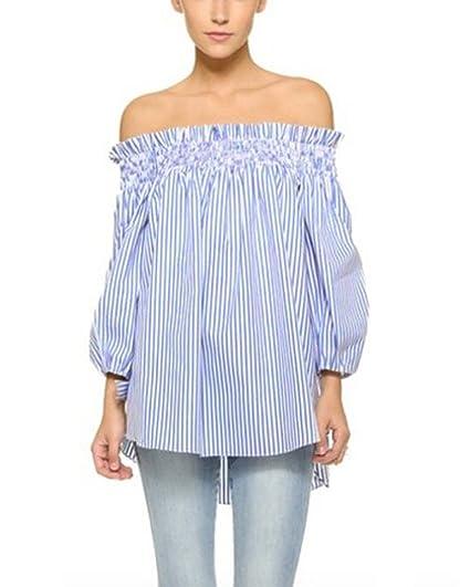 ZANZEA Women's Plus Size Off shoulder 3/4 Sleeve Loose Long Tops Blouse Shirt