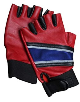 Harley Q Costume Gloves - Squad Biker Gloves Real Leather (M)