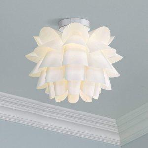 """Modern Ceiling Light Flush Mount Fixture White Flower 15 3/4"""" for Bedroom Kitchen – Possini Euro Design"""