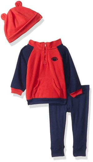 Gerber Baby Boy 3 Piece Micro Fleece Top, Pant and Cap Set, Football, 6-9 Months