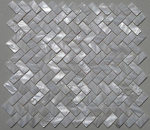 Amazon Com 11pcs White Shell Mosaic Tile Mother Of Pearl Kitchen Tile Shower Tv Background Bathroom Backsplash Wall Zip Herringbone Pattern Tiles Home Kitchen