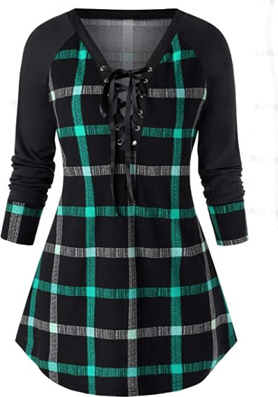 ROSEGAL Women's Plus Size Raglan Sleeve Lace Up Plaid Tunic Shirt Blouse